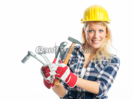 female craftsman with tools