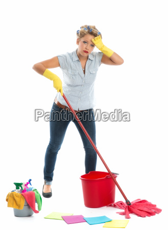tired cleaning woman with bucket and
