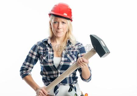 female craftsman with hammer