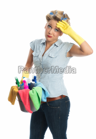 tired cleaning lady with bucket
