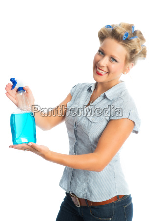 housewife with spray bottle