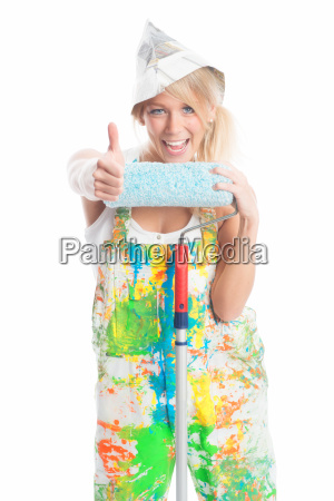 painter shows thumbs up