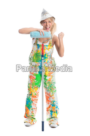 female house painter with paint roller