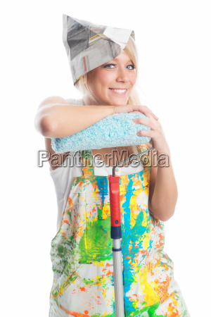 female house painter with smock