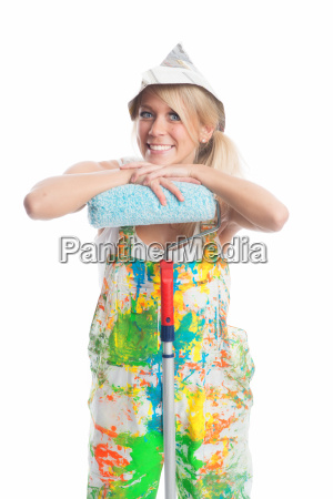 female painter with smock