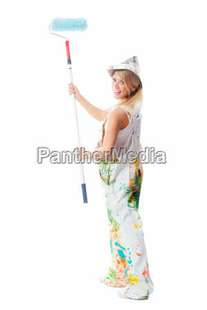 female painter with color roller