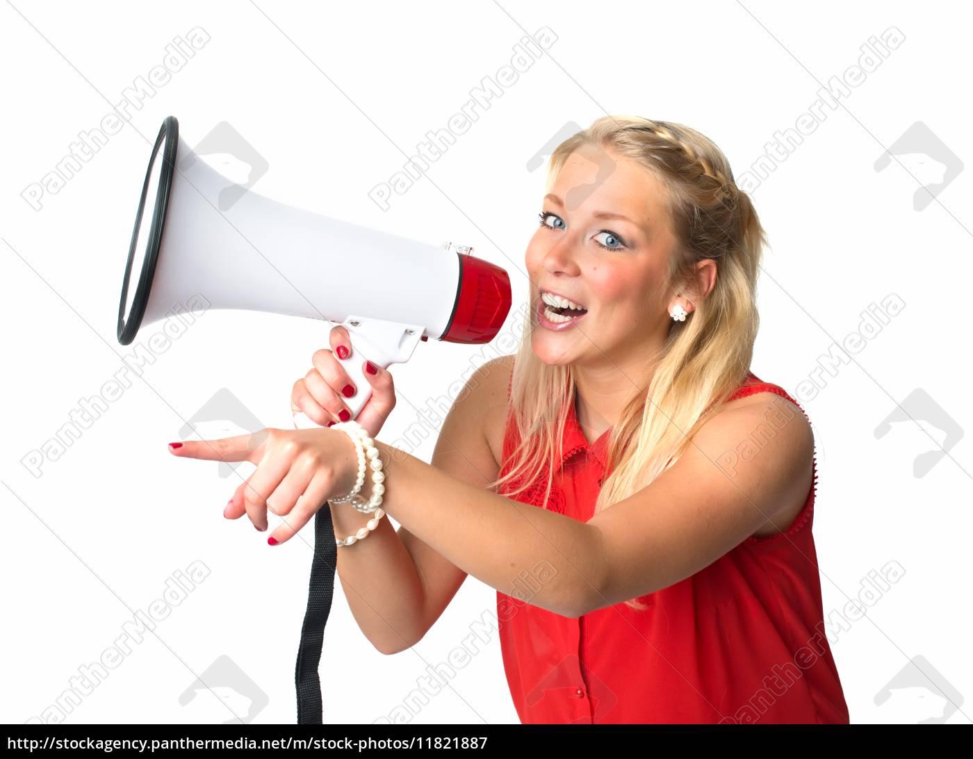 blonde, frau, mit, megafon - 11821887