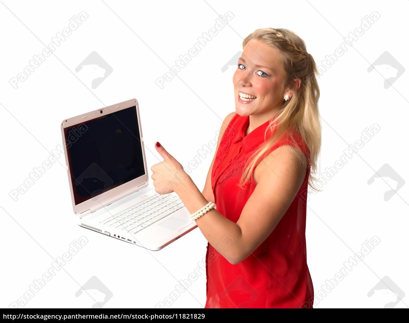 junge, frau, mit, laptop - 11821829