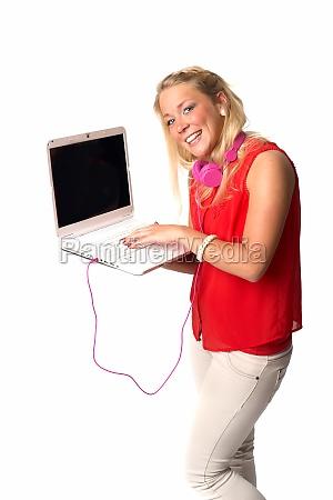 junge, frau, mit, laptop - 11821845