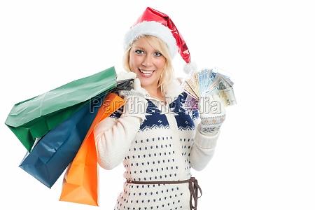 christmas woman goes shopping