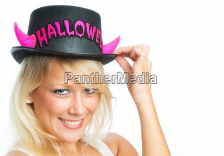woman with halloween hat