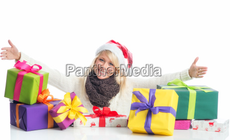 christmas woman with gifts heap