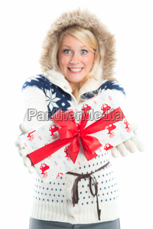 blond woman with gift