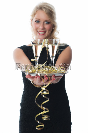 woman offers champagne