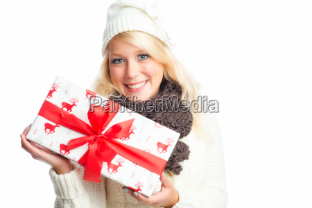 woman gift parcel amazed christmas christmas