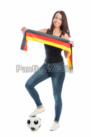 female soccer fan with football scarf