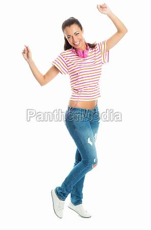 woman with headphones dancing