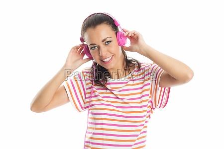 woman music listen brown brownish brunette