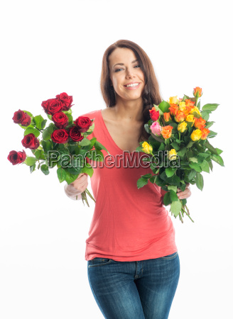 young woman with bouquets