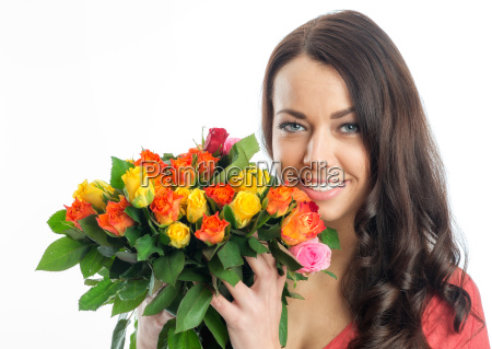 young woman with bouquet of roses