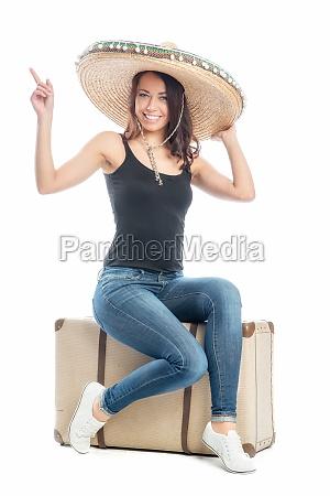 frau, mit, koffer, und, sombrero - 11822537