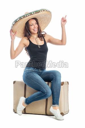 frau, mit, koffer, und, sombrero - 11822541