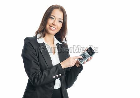 geschäftsfrau, mit, taschenrechner - 11822919