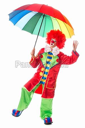 clown with umbrella