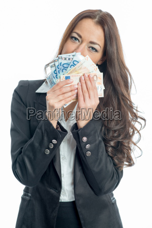 businesswoman with bills