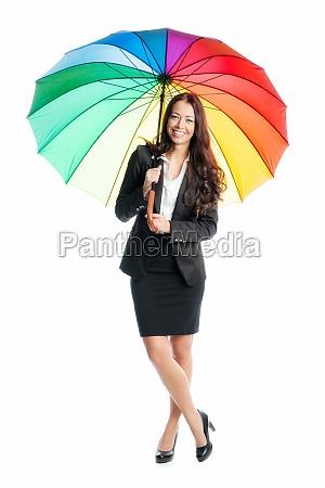 businesswoman with umbrella