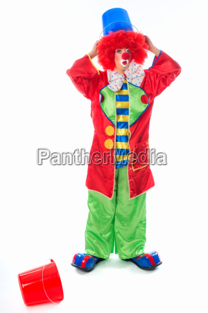 clown with water bucket