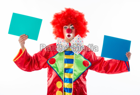 clown holding up advertising signs
