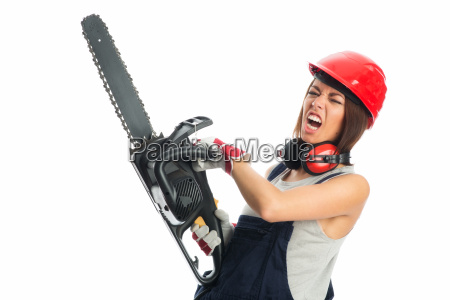 young girl with chain saw