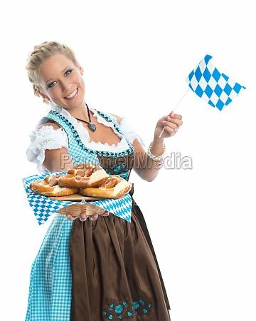 bayrisches, mädchen, mit, brezn, - 11823445