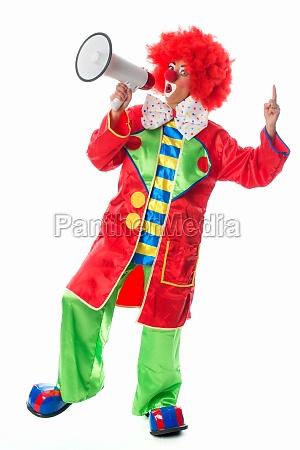 clown, mit, megafon - 11823111