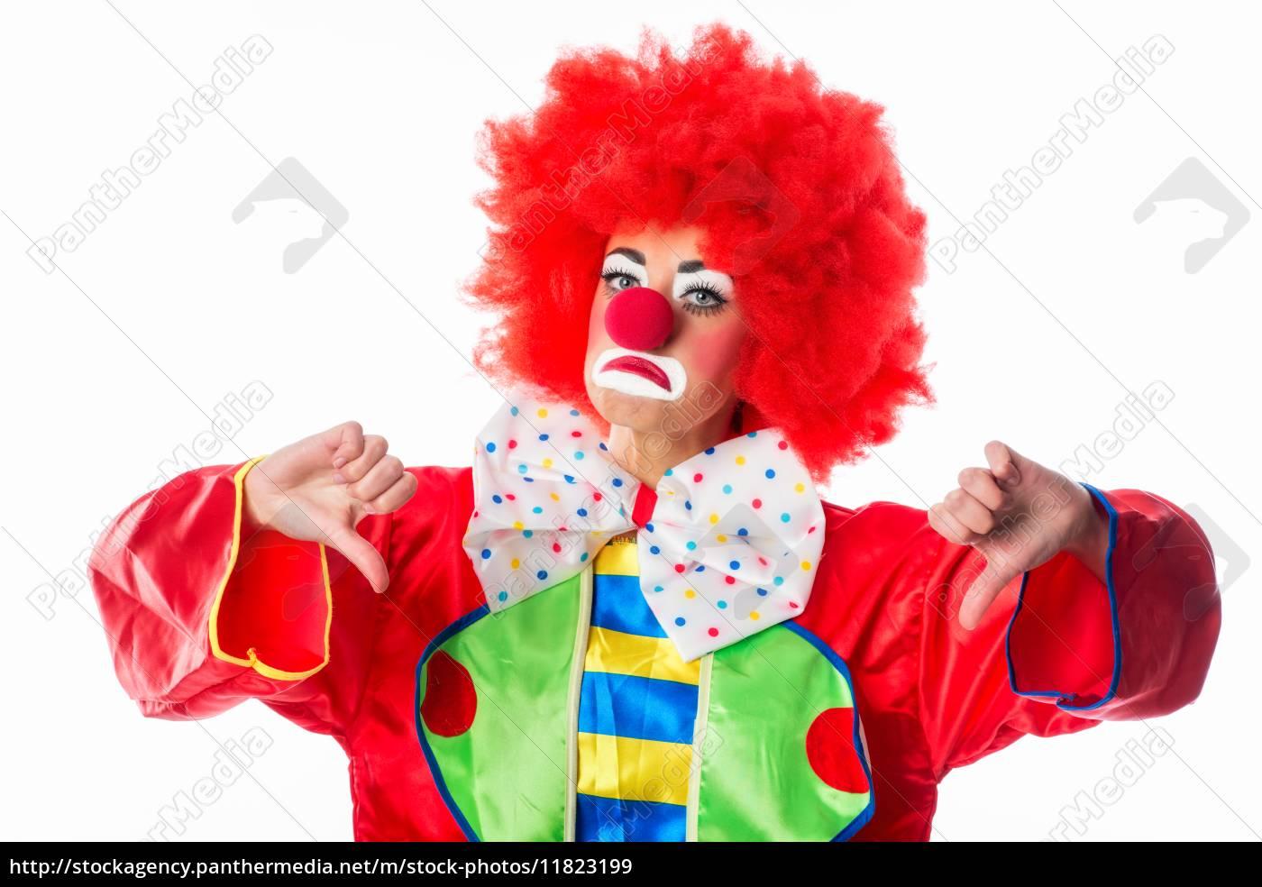 clown, zeigt, daumen, nach, unten - 11823199