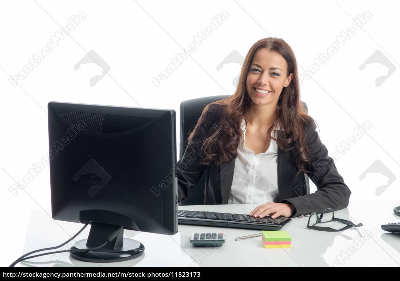 geschäftsfrau, am, computer - 11823173