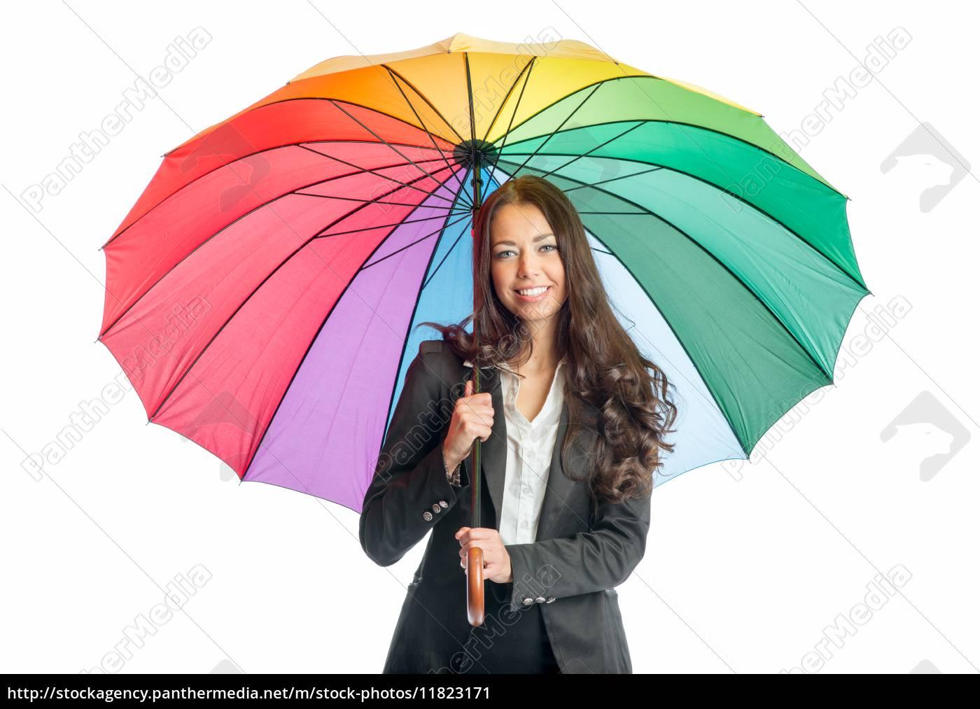 geschäftsfrau, mit, regenschirm - 11823171