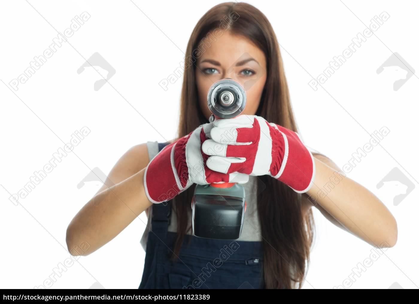 weiblicher, handwerker, mit, akkuschrauber - 11823389