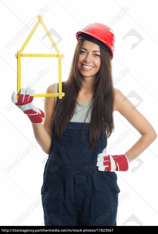 weiblicher, handwerker, mit, zollstock, - 11823567