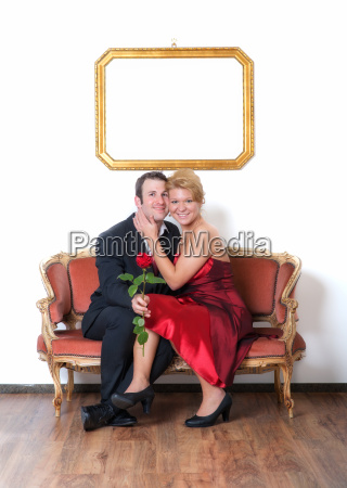 couple in love on sofa