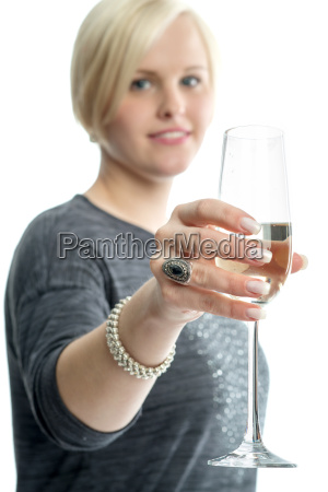 blonde girl with champagne glass