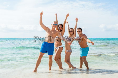 group of laughing young people on