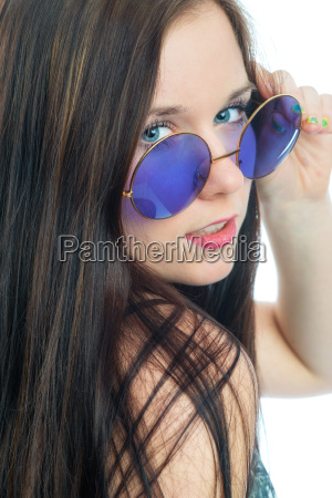 girls face with sunglasses