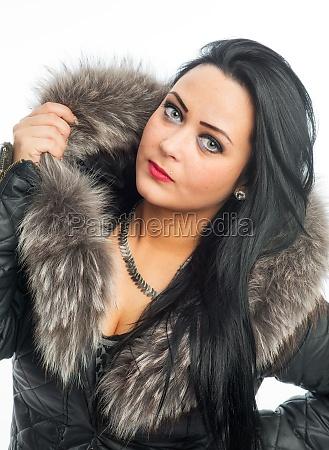 rude woman with fur collar
