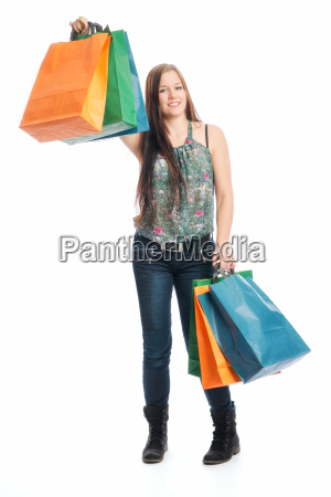 young girl on a spending spree