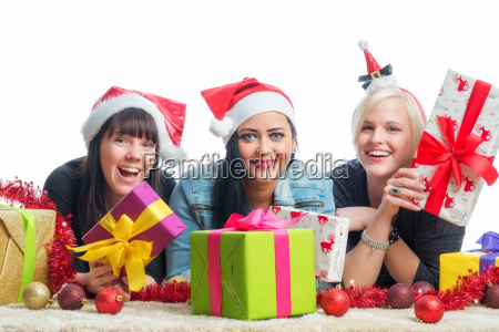 3 christmas girl with gifts