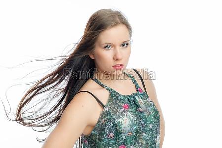 woman face hairs sensual blow windy