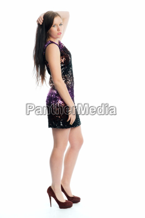 woman bright shiny noble mini dress