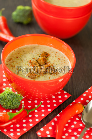 soup bowl with broccoli soup with